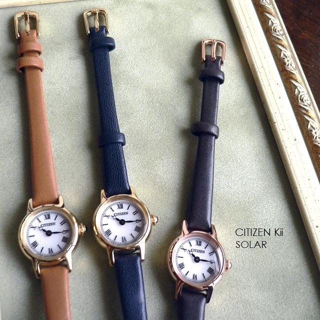 ノベルティプレゼント CITIZEN シチズン Kii キー レザーバンド ソーラー アンティークデザイン 腕時計 EG2995 EG2996 キャメル/ブラウン/ネイビー/ピンクゴールド/ゴールド