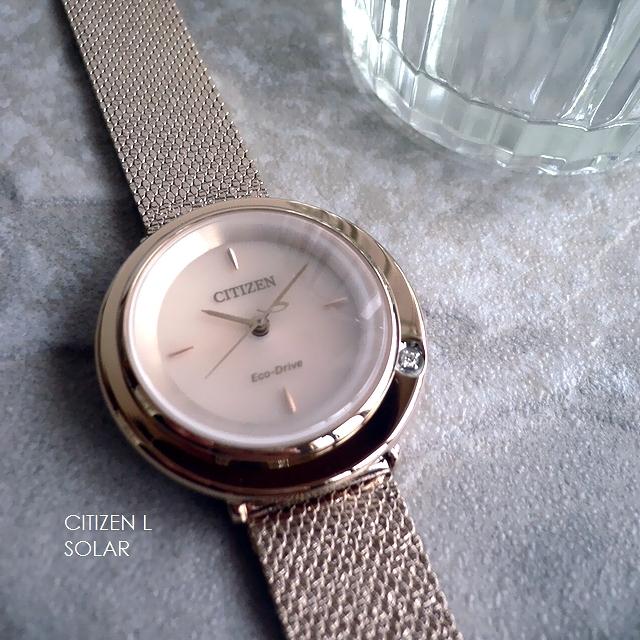 ノベルティプレゼント CITIZEN L Ambiluna シチズン エル アンビュリナ メッシュバンド ソーラー ダイヤモンド 腕時計 EM0643-92X ウォームゴールド/ピンクゴールド