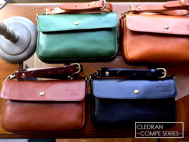 クーポン対象外 レザークリームプレゼント クレドラン CLEDRAN バッグ CL1758 COMPE レザー ミニショルダー バッグ キャメル/ブラウン/グリーン/ブラック