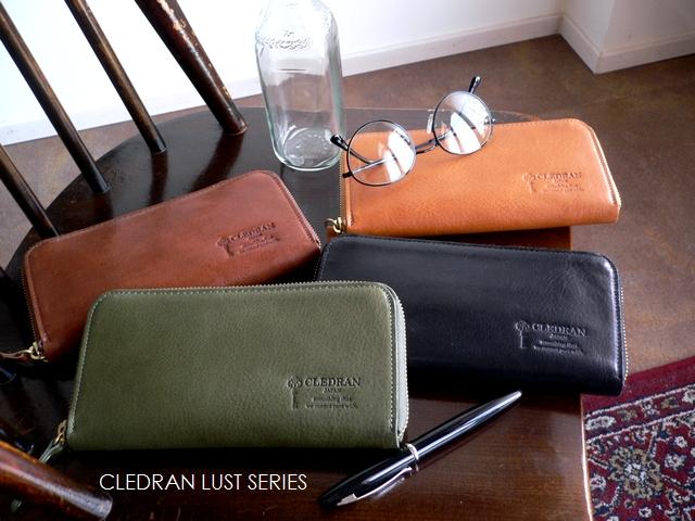 クーポン対象外 ノベルティ&レザークリームプレゼント クレドラン CLEDRAN メンズ 財布 ラウンドファスナー 長財布 S6514 LUST キャメル/ブラウン/グリーン/ブラック/父の日