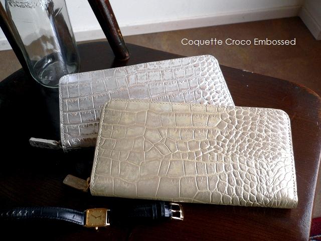ノベルティ&レザークリームプレゼント coquette コケット クロコ型押し ラウンドファスナー 長財布 G0161 croco embossed シルバー/プラチナゴールド