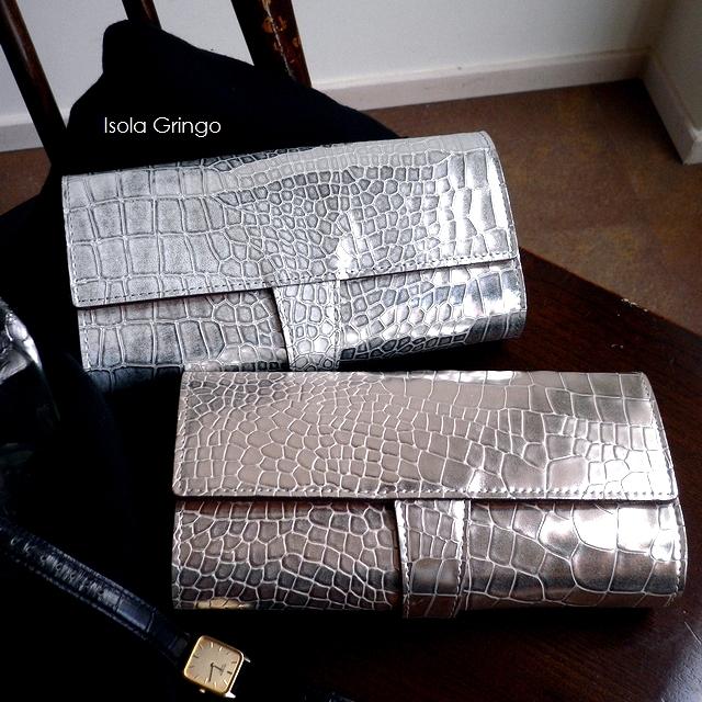 ノベルティ&レザークリームプレゼント ISOLA アイソラ 長財布 ジャバラ大 クロコ型押し 箔押し 11502 グリンゴ ゴールド/シルバー