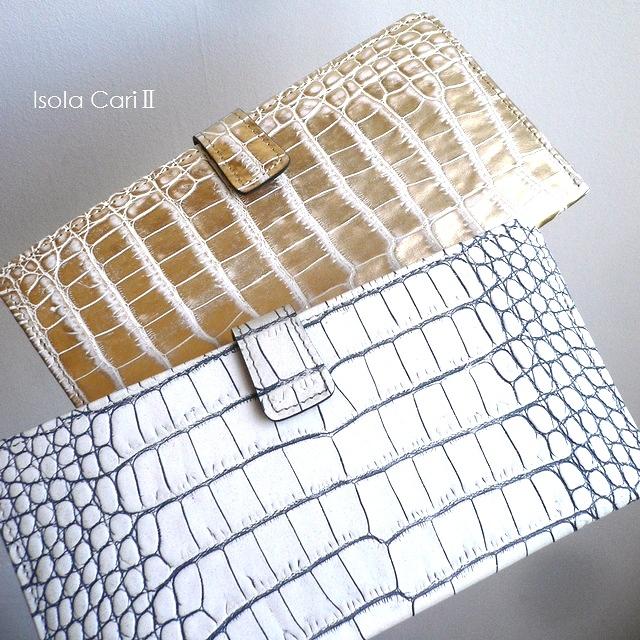 クーポン対象外 ノベルティ&レザークリームプレゼント ISOLA アイソラ 薄束入れ スリム コンパクト イタリア グリッター クロコ型押し レザー 12605 カーリ2 ホワイト/グリーン
