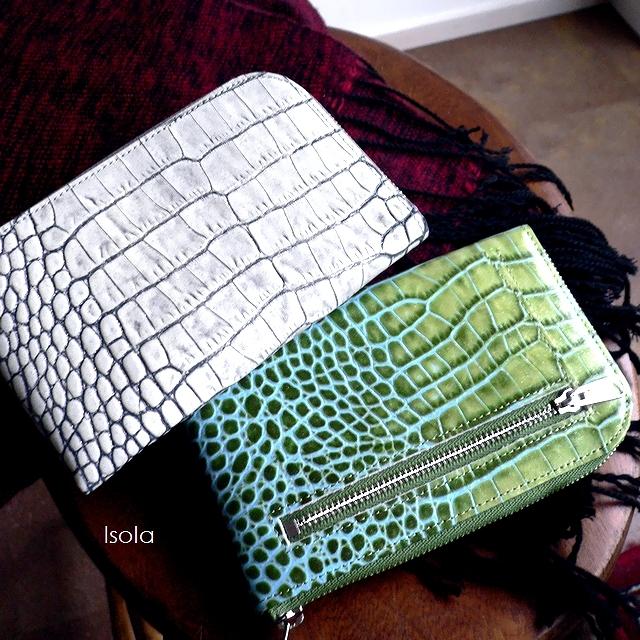 クーポン対象外 ノベルティ&レザークリームプレゼント ISOLA アイソラ 財布 コンパクトウォレット L字ファスナー 中 イタリア グリッター クロコ型押し レザー 12610 カーリ2 ホワイト/グリーン
