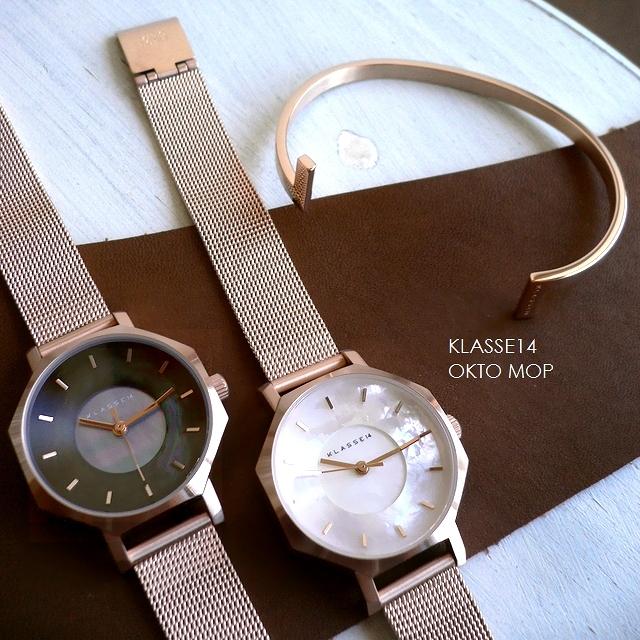 正規品 ノベルティプレゼント KLASSE14 クラスフォ-ティーン 腕時計 メッシュバンド Volare OKTO MOP 八角形 白蝶貝 WOK19RG008S WOK19RG010S 28mm ホワイト/ダーク/ブラック/ピンクゴールド