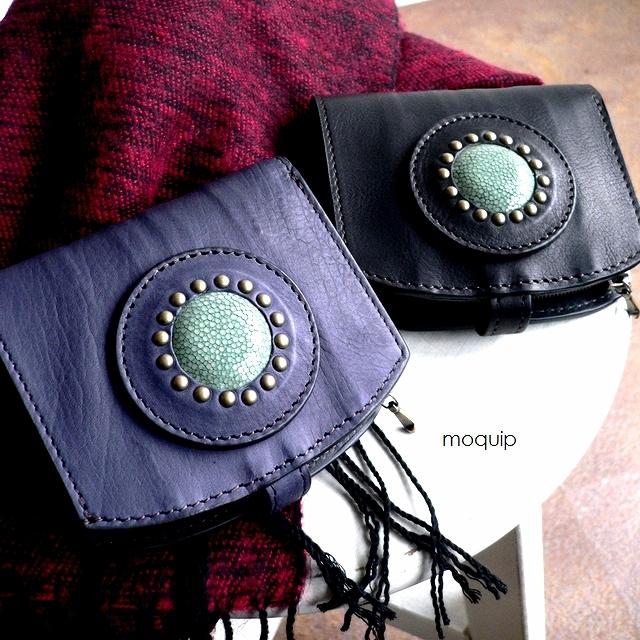 レザークリームプレゼント moquip モキップ ガルーシャカーフレザー 折り財布 WLCG06182 ブルー/ブラック