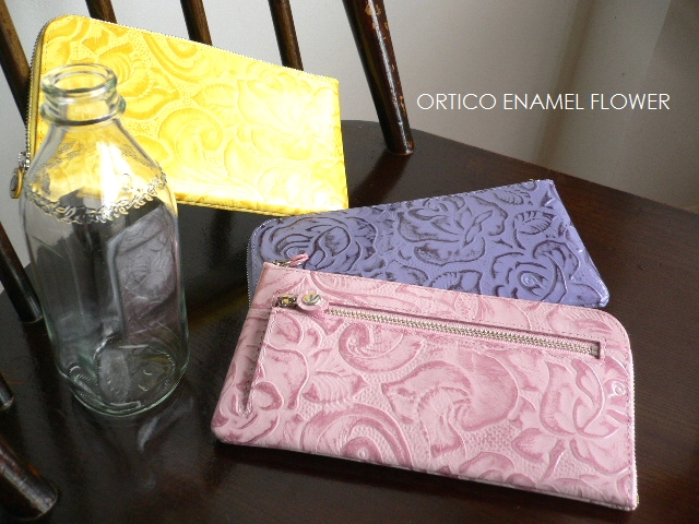 ノベルティ&レザークリームプレゼント ORTICO オルティコ 長財布 薄い財布 花柄フラワー型押し レザー L字ファスナー OR-0028EFW FLOWER オレンジ/イエロー/ピンク/ラベンダー