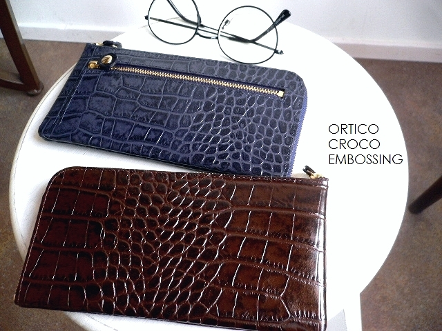 ノベルティ&レザークリームプレゼント ORTICO オルティコ 長財布 薄い財布 クロコ型押し レザー L字ファスナー OR-0028ICD CROCO ワインレッド/オリーブ/ネイビー/ブラウン/ブラック/シルバー