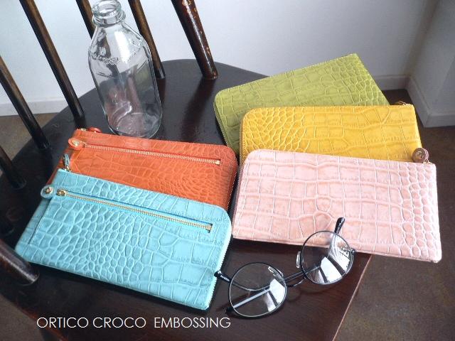 ノベルティ&レザークリームプレゼント ORTICO オルティコ 長財布 薄い財布 クロコ型押し レザー L字ファスナー OR-0028ICP CROCOイエロー/ライムグリーン/オレンジ/サックスブルー/ピンク