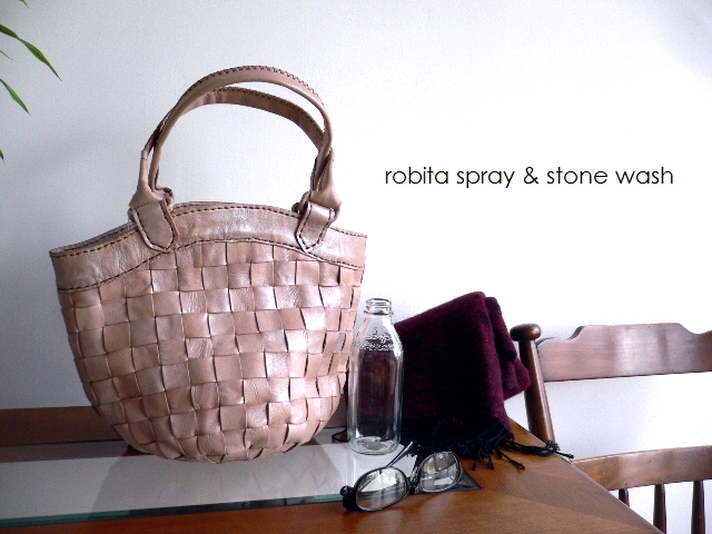 ノベルティ&レザークリームプレゼント ロビタ robita バッグ spray & stone wash メッシュレザー トートバッグ かごバッグ STA-052S シルバー