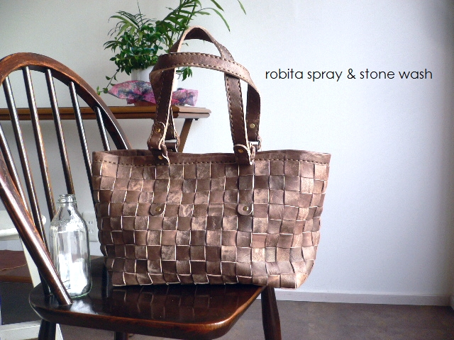 レザークリームプレゼント ロビタ robita バッグ spray & stone wash トートバッグ STA-099M ブロンズ