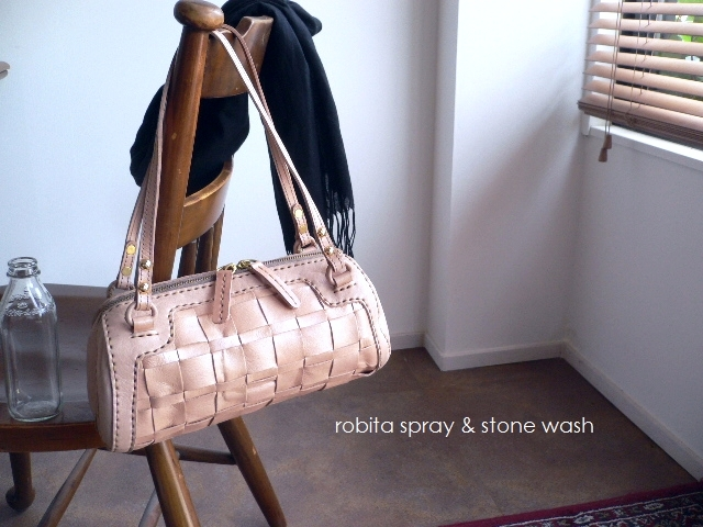レザークリームプレゼント ロビタ robita バッグ spray & stone wash ミニボストン ドラム STA-217 シルバー