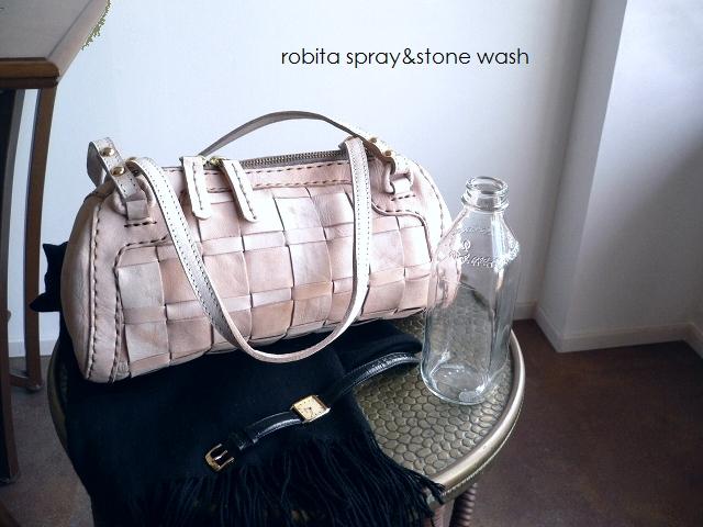 レザークリームプレゼント ロビタ robita バッグ spray & stone wash ミニボストン ドラム STA-217 ホワイト