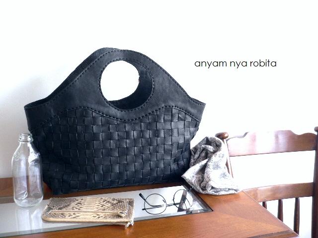 レザークリームプレゼント robita nya ロビタ anyam トートバッグ nya robita AN-050L メッシュレザー トートバッグ AN-050L ブラック, ソーワーク:d1f993f2 --- m.vacuvin.hu