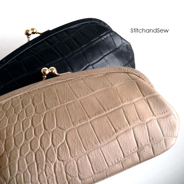 ノベルティ&レザークリームプレゼント StitchandSew ステッチアンドソー 財布 クロコ型押し レザー がま口 長財布 CLW102 グレー/ベージュ/ブラック