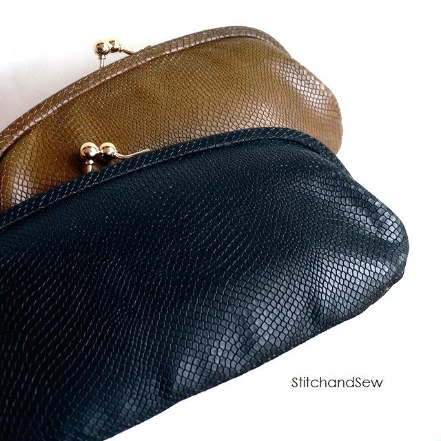 ノベルティ&レザークリームプレゼント StitchandSew ステッチアンドソー 財布 リザード型押し レザー がま口 長財布 CLW105 カーキ/ブラウン/ブラック