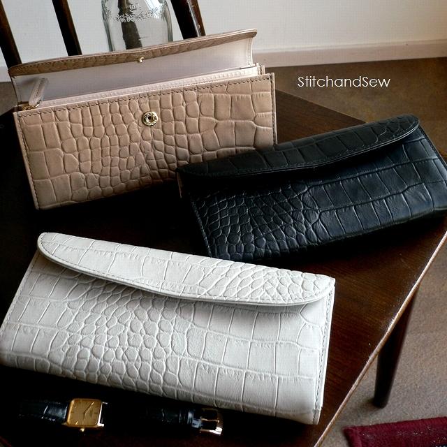 ノベルティ&レザークリームプレゼント StitchandSew ステッチアンドソー 財布 クロコ型押し レザー フラップ 長財布 FWL102 グレー/ベージュ/ブラック