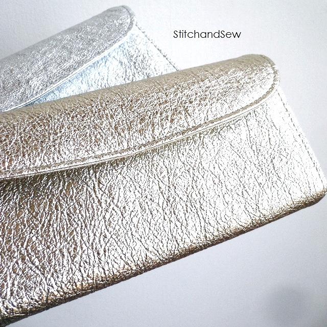ノベルティ&レザークリームプレゼント StitchandSew ステッチアンドソー 財布 金銀箔 レザー フラップ 長財布 FWL200 ゴールド/シルバー