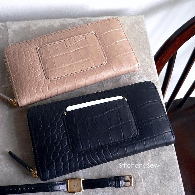 ノベルティ&レザークリームプレゼント 生産終了 StitchandSew ステッチアンドソー 財布 クロコ型押し レザー ラウンドファスナー 長財布 LW102 ベージュ/ブラック