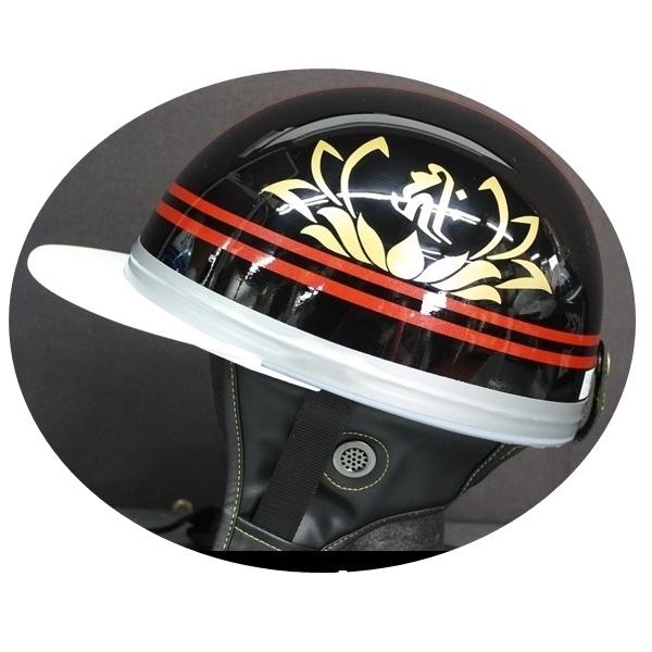 入手困難 TNK TR-40C 峠 旧車 コルク半ヘルメット 注目ブランド ブラック レッド 送料無料 梵字 代引不可 フリーサイズ キリークNo2 ゴールド