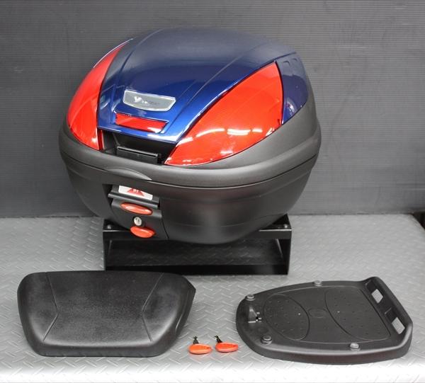 ワイズギア YAMAHA GIVI リアボックス E37 バックレスト付き カラー塗装(ダルパープリッシュブルーメタリックX) あす楽対応 送料無料