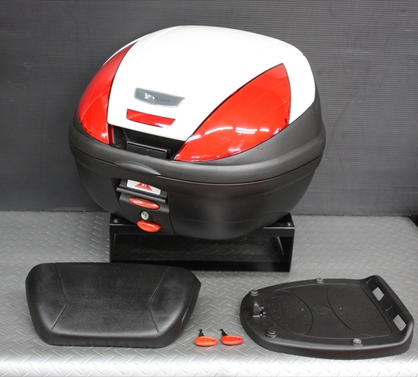 ワイズギア YAMAHA GIVI リアボックス E37 バックレスト付き カラー塗装(ブルーイッシュ ホワイトカクテル1) あす楽対応 送料無料