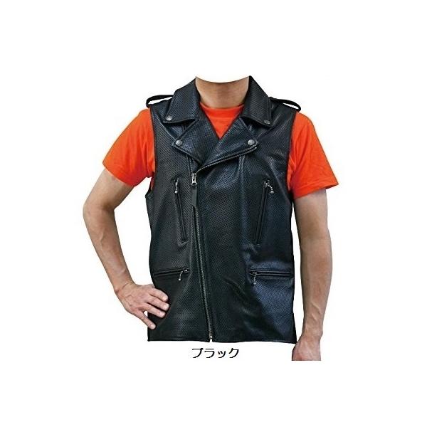 (熱闘セール 30%OFF) モトフィールド Cow Leather Puncing Double Vest 牛革 パンチングダブルベスト MF-LT006P ブラック