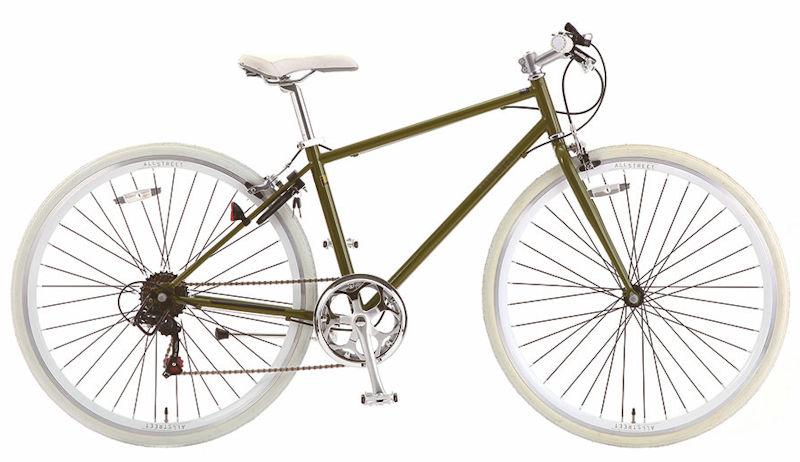 サカモトのクロスバイクの中でも、人気が高い継続モデル。 サカモトテクノ 700C オールストリート 外装6段変速 ( カーキ) SAKAMOTO TECHNO ALL STREET S-tech クロスバイク