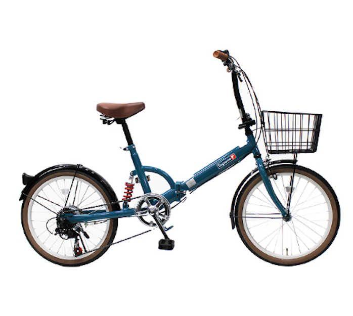 TOPONE (トップワン) 折りたたみ自転車 20インチ カゴ付き リアサス付き6段変速 (ターコイズブルー) (FS206LL-37-TB) 【送料無料・メーカー直送・代引不可】 02P03Dec16