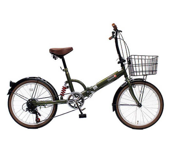 TOPONE (トップワン) 折りたたみ自転車 20インチ カゴ付き リアサス付き6段変速 (オリーブ) (FS206LL-37-OL) 【送料無料・メーカー直送・代引不可】 02P03Dec16