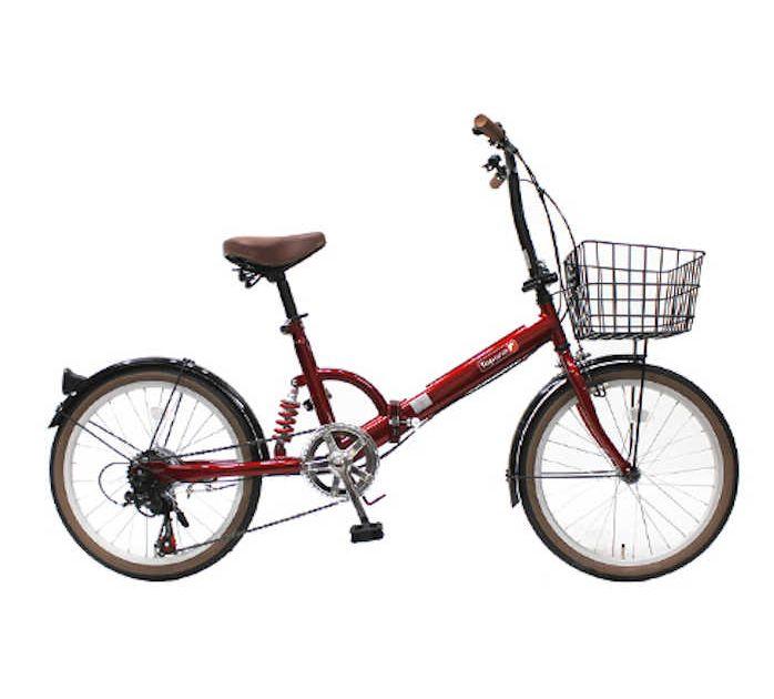 TOPONE (トップワン) 折りたたみ自転車 20インチ カゴ付き リアサス付き6段変速 (レッド) (FS206LL-37-RD) 【送料無料・メーカー直送・代引不可】 02P03Dec16