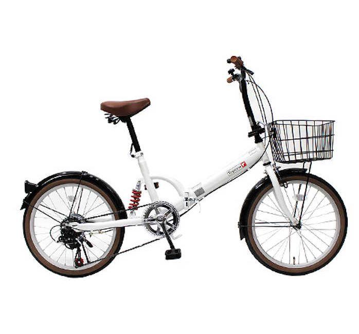 TOPONE (トップワン) 折りたたみ自転車 20インチ カゴ付き リアサス付き6段変速 (パールホワイト) (FS206LL-37-PW) 【送料無料・メーカー直送・代引不可】 02P03Dec16