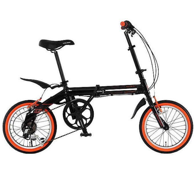 折り畳み自転車 ドッぺルギャンガー 16インチアルミ折りたたみ自転車6段変速付 104 ブラックバレット II (BK/OR) (DOPPELGANGER 104-DP blackbullet II)【送料無料・メーカー直送・代引不可】 02P03Dec16