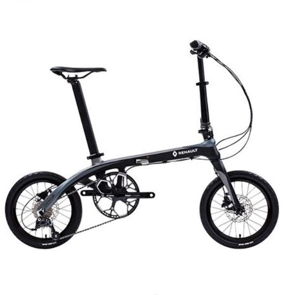 送料無料 折り畳み自転車 RENAULT Carbon8 14インチ 9段変速 コンパクト折りたたみバイク ブラック/グレー (Carbon8 ) ルノー