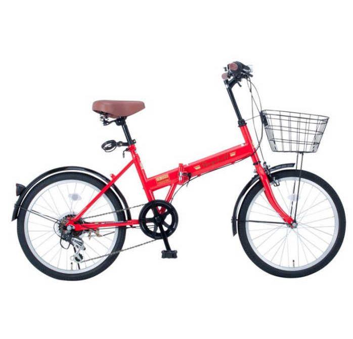 【送料無料・メーカー直送・代引不可】折り畳み自転車 20インチ6段変速カゴ付折りたたみ自転車 FB-206R (レッド 35651) (OTOMO Raychell FB-206R)