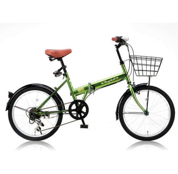 【送料無料・メーカー直送・代引不可】折り畳み自転車 20インチ6段変速カゴ付折りたたみ自転車 FB-206R (カーキ 31010) (OTOMO Raychell FB-206R)