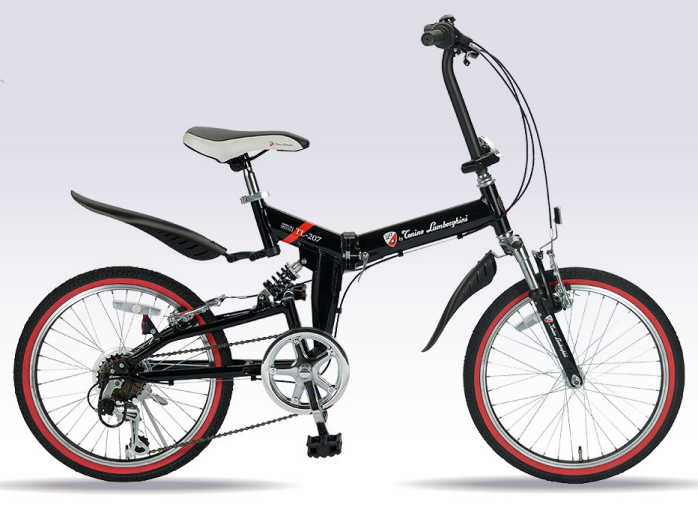 折り畳み自転車 20インチWサス&6段変速付き折りたたみ自転車 トニーノ・ランボルギーニ  TL-207 (ブラック) (Tonino Lamborghini TL-207) 折畳み自転車【送料無料・メーカー直送・代引不可】