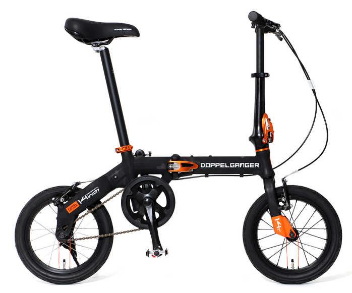 折り畳み自転車 ドッぺルギャンガー 14インチアルミ折りたたみ自転車 140-BK (ブラック x オレンジ) (DOPPELGANGER 140-BK HaKoVelo) 折畳み自転車【送料無料・メーカー直送・代引不可】