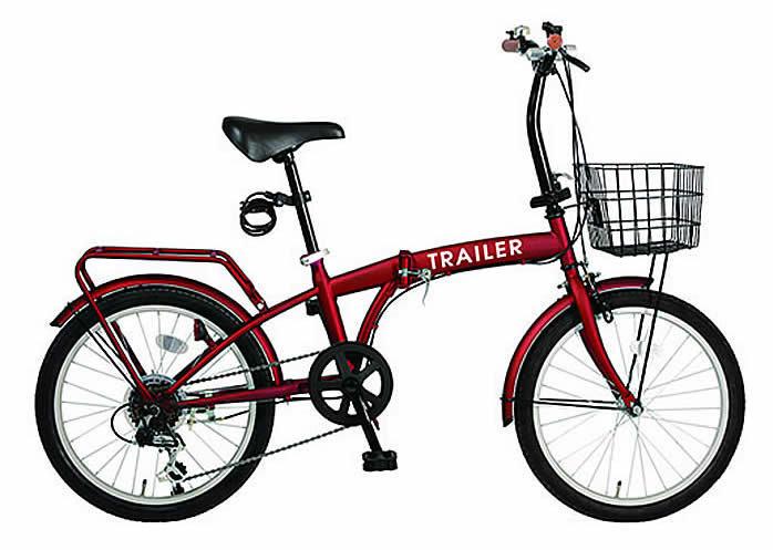 折り畳み自転車 20インチ折りたたみ自転車 6段変速 カゴ/カギ/ライト BGC-F20-RD (レッド)(TRAILER BGC-F20) 折畳み自転車【送料無料・メーカー直送・代引不可】
