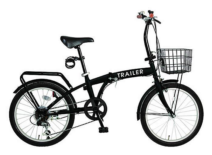 折り畳み自転車 20インチ折りたたみ自転車 6段変速 カゴ/カギ/ライト BGC-F20-BK (ブラック)(TRAILER BGC-F20) 折畳み自転車【送料無料・メーカー直送・代引不可】