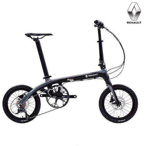 折り畳み自転車 RENAULT Carbon8  14インチ 9段変速 コンパクト折りたたみバイク ブラック/グレー (Carbon8 ) ルノー