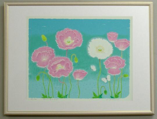 【キャッシュレス5%還元】風水版画3322 恋愛運 ピンク色のポピー送料無料 吉岡浩太郎