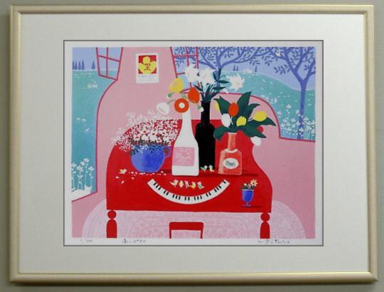 【キャッシュレス5%還元】【三々サイズ】版画335 赤いピアノ送料無料 吉岡浩太郎