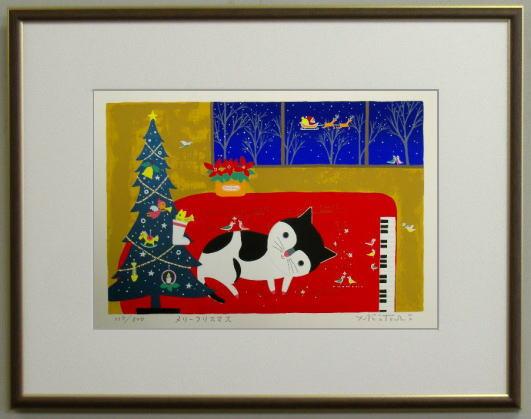 【キャッシュレス5%還元】【大衣サイズ】版画DKX1 メリークリスマス(クリスマス)吉岡浩太郎