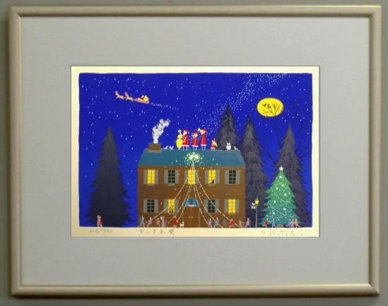 【キャッシュレス5%還元】【大衣サイズ】版画DKX2 サンタ出発(クリスマス)吉岡浩太郎