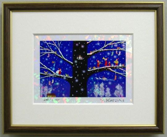 吉岡浩太郎 絵画 キャンペーンもお見逃しなく 版画 シルクスクリーン クリスマスアート 版画IPC34 インチサイズ サンタクロースの絵 雪のメロディ吉岡浩太郎 クリスタル 正規品スーパーSALE×店内全品キャンペーン