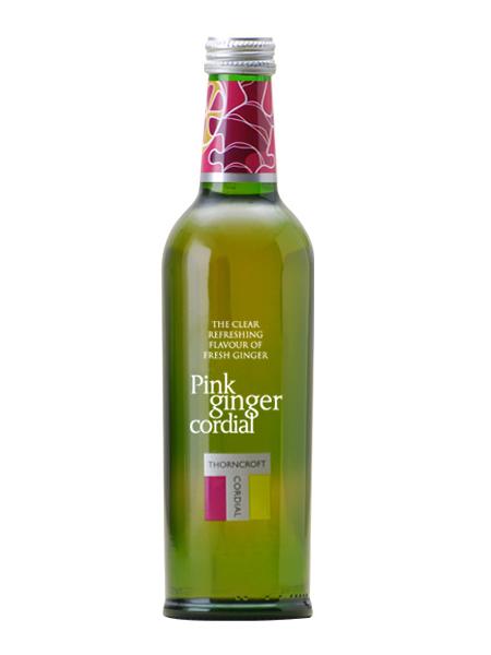 ソーンクロフト ハーブコーディアル(THORNCROFT HERB CORDIAL) ピンクジンジャー グラス(ビン) 1ケース(375ml×12本) [イギリス産]【楽ギフ_のし】