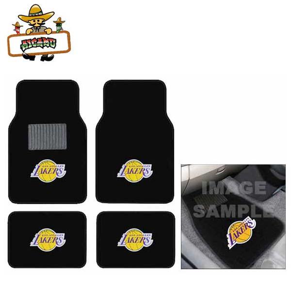 【送料込み】ロサンゼルスレイカーズ 4ピースカーフロアマット(カーペット素材) 車用ラバーマット フロア&バックシート用 NBA Los Angeles Lakers