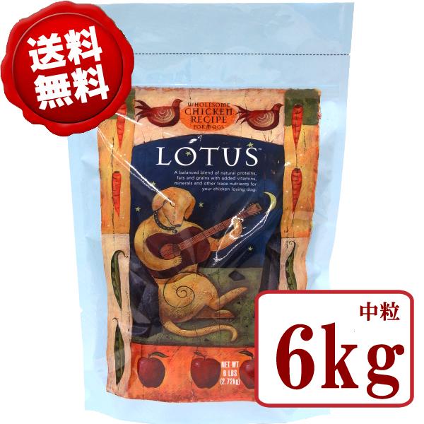 【送料無料】ロータス アダルト チキンレシピ 中粒 6kg【正規品 ロータス ドッグフード ペットフード ドライフード 成犬用 通販】