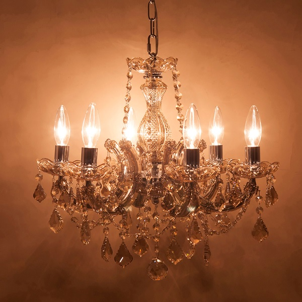 シャンデリア クリスタルガラスシャンデリア ギャラクシー 6灯 シャンパンゴールド  ak-glxy-6cp